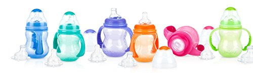 Nuby Non Drip Silicone (Nuby 3-Stage Wide Neck No Spill Bottle with Handles And Non-Drip Juice Spout, 3 Months, 8 Ounce, Blue)