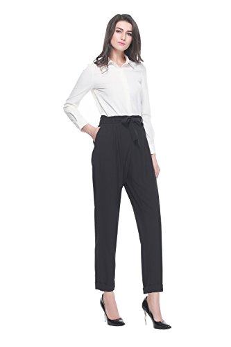 Women's Tie Cosure Elasticized Waist Ankle-length Cropped Pants (m, black)