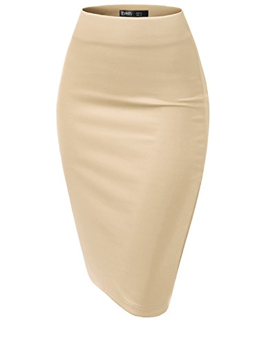 TWINTH Women's Basic Comfort Stretch Cotton Elastic Waist Knee Length Pencil Skirt Oatmeal 2XL Plus Size