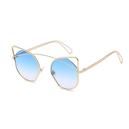 pads Classique chat de soleil Designer en Lunettes Silicone de Ms Blue de soleil yeux métal Beams GAOLIXIA Lunettes Single R681TfgR