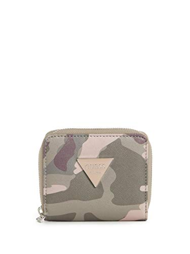 Guess Factory Women's Abree Army Print Triangle Logo Small Zip-Around Wallet ()