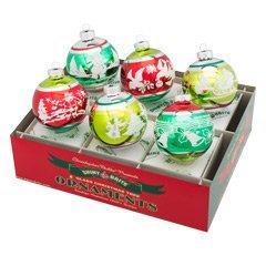 Shiny Brite Holiday Splendor 6-Pc 3.25'' Flocked (Vintage Aluminum Christmas Trees)
