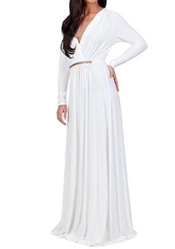 Coolred-femmes Drapées Taille Plus V Cou Robes De Soirée Taille Pure Couleur Blanche