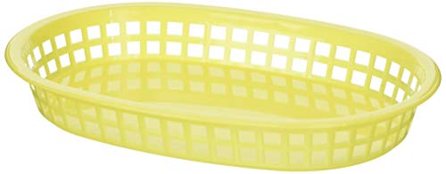 Winco Oval Platter Baskets, 10.75-Inch by 7.25-Inch by 1.5-Inch, Yellow