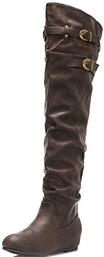 DREAM PAIRS Women's Casual Side Zip Over The Knee Winter Boots (Wide Calf Available)