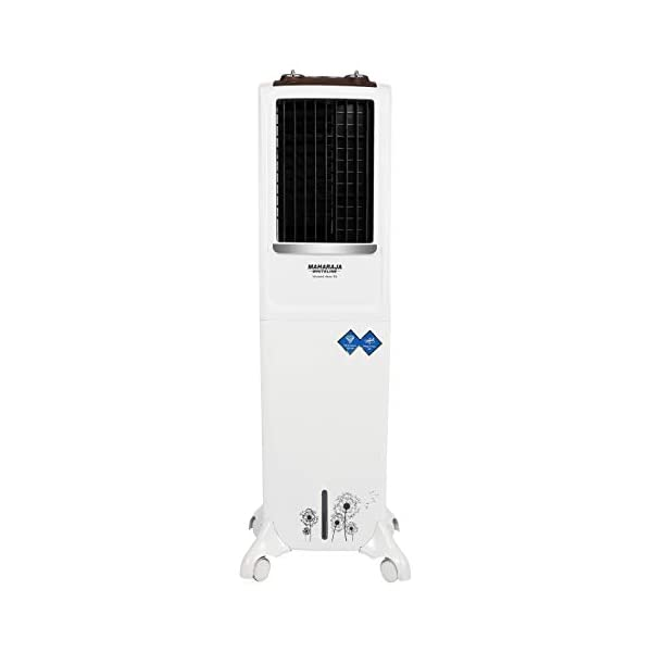 Maharaja Whiteline Blizzard Deco Tower Air Cooler with Remote, 54 litre, White & Grey 2021 July Cooler Type: Tower Cooler, for both indoor and outdoor needs Capacity: 54 litres, ideal for room size up to 160 sq ft High air delivery of 1600 m3/hr, heavy air throw of 25 ft., 4 way air deflection, 3 speed levels (low, medium & high)