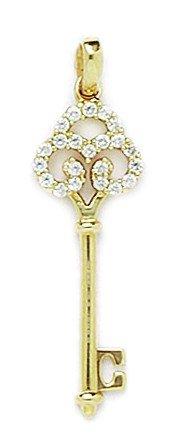 Or jaune 14Ct CZ Fleur Pendentif clé-Dimensions 33x 10mm