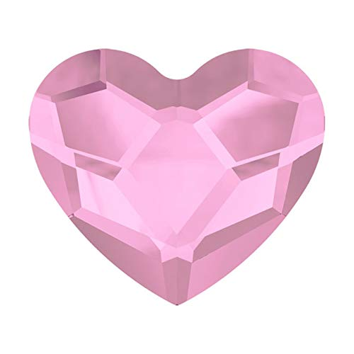 Swarovski Crystal, 2808 Heart Flatback Rhinestone 6mm, 6 Pieces, Rosaline F