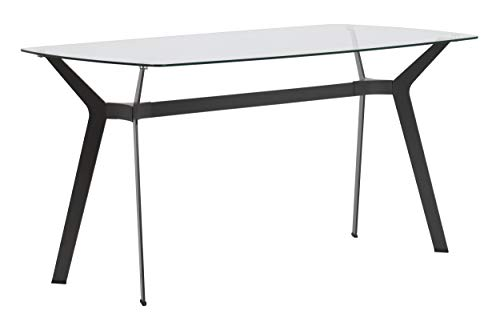 Studio Designs Home Archtech 60 W x 32 D Mid-Century Modern Dining, Desk, Metal and 8mm Thick Glass Table in Pewter Gray