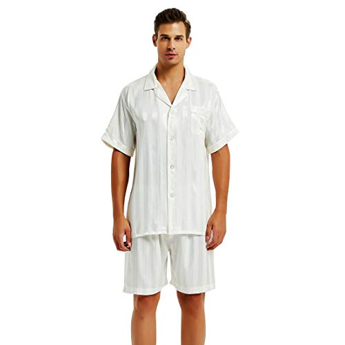- Lonxu Mens Silk Satin Short Pajamas White 2XL