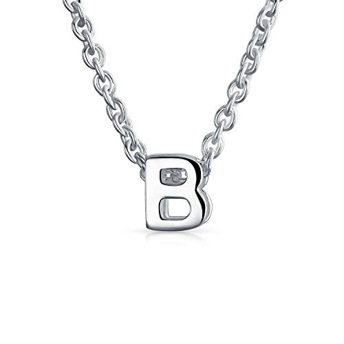 .925 Sterling Silver Small Block Uppercase Letter B Initial Pendant Necklace 16 Inches + 2