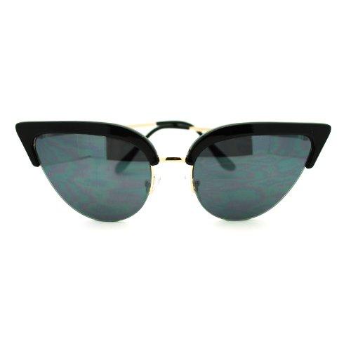 Womens Mod Half Rim Cat Eye 20s Retro Fashion Goth Sunglasses Black - Glasses Goth