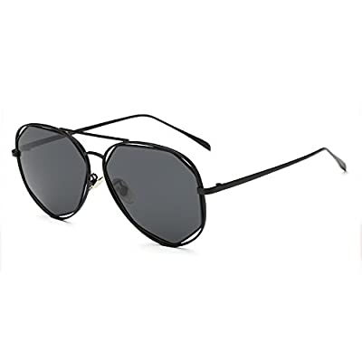 CHB Flat Mirrored lens street fashion Irregular Metal frame sunglasses polarized uv400