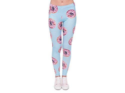 Leggings Damen Bedruckt Sexy Leggins Ladies mit Print Look Motiv Muster Stretch Legins Hose von Alsino, Variante wählen:LEG-078 Donuts