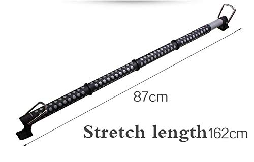 1 Piece Classic Black Metal 34 Inch to 62 Inch Expandable Car Interior Clothes Bar for Travel//Retractable Hanger Rod Rack Bar with Rubber Grips and Divider Rings Avoid Falling Off or Shifting Places