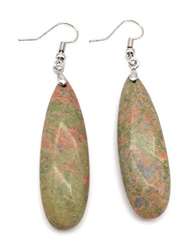(xinpeng Womens Tears Water Drop Chakra Charm Semi-Precious Natural Gemstone Teardrop Dangle Hook Earrings Pair (Unakite))