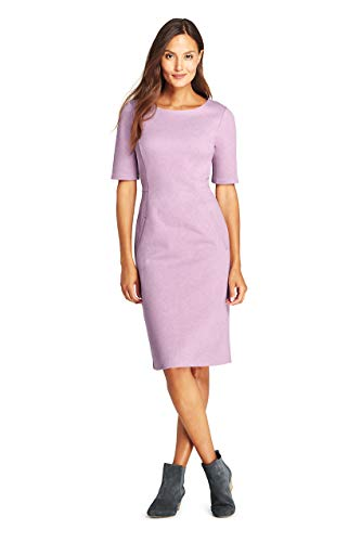 (Lands' End Women's Ponte Knit Sheath Dress with Elbow Sleeves, 10, Mauve Orchid Heather)