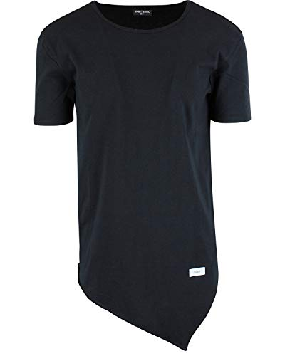 ShirtBANC Mens Hipster Hip Hop Long Drop Tail T Shirts (Asymmetric Tee Black, L)