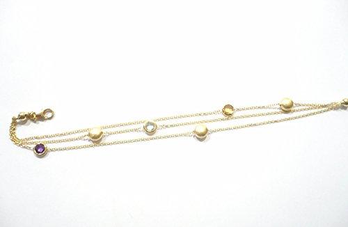 Bracelet or jaune 18KT plusieurs chaînes avec pierres coloré