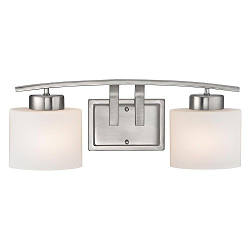 Bathroom Wall Light with White Oval Glass - Two (Pearl Bathroom Sconce)