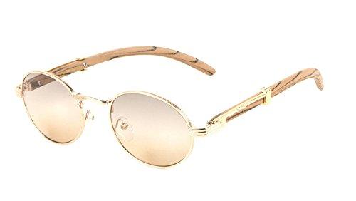 Scholar Luxury Oval Metal & Wood Sunglasses (Rose Gold Light Brown Wood Frame, Brown - Sunglasses Quavo