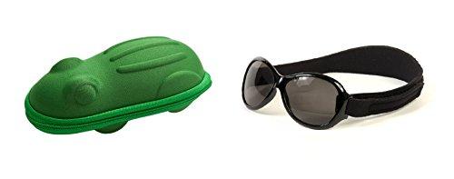 Lunettes de soleil KidzBanz Retro- Enfant 2 à 5 années, Noir, et un étui lunettes de soleil Yoccoes - en forme de Grenouille Vert