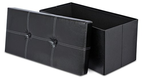 Internet's Best Faux Leather Folding Storage Ottoman Bench with Buttons - Strong and Sturdy - Quick and Easy Assembly - Foot Stool - Black (Ottoman Zebra)