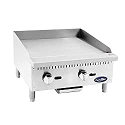 Atosa Us Atmg 24 Commercial Griddle Heavy Duty Manual Flat Top Restaurant Griddle Stainless Steel Portable Grill Liquid Propane 24 Countertop 60 000 Btu