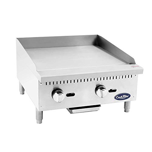 "ATOSA US ATMG-24 Commercial Griddle Heavy Duty Manual Flat Top Restaurant Griddle Stainless Steel Portable Grill Natural Gas 24"" Countertop - 60,000 BTU"