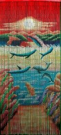 Bamboo 56 5284 Playful and colorful dolphin curtain (Beaded Tropical Curtains)