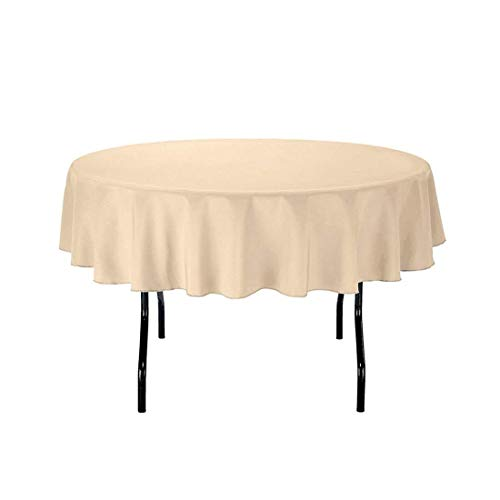 SilkLove (Price Cutting) Tablecloth - 70 Inch Dia -Beige-Round Polyester Table Cloth, Wrinkle,Stain Resistant - Great for Buffet Table, Parties, Holiday Dinner & More
