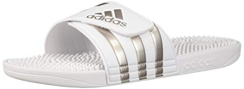 adidas Adissage Sandal, Platinum Metallic/White, 12 Medium - Adidas Sandal Adissage Womens