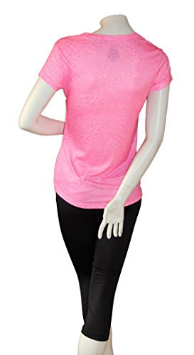 Women's Performance Dri-More Tee Lose fit Activewear Sports Gym Yoga T-shirt (XS, Pink Animal)