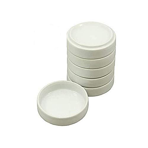 Vivid Porcelain White Round Watercolor Palette Container Dish with Lid - for Painting, Small Jewelry Storage, Sauce Dishes - 5-Pack