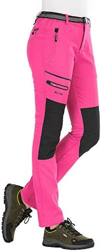 DENGBOSN Pantalones de Montaña Mujer Impermeables Invierno Calentar Pantalones Trekking Escalada Senderismo Softshell,KZ1672W-Pink-S