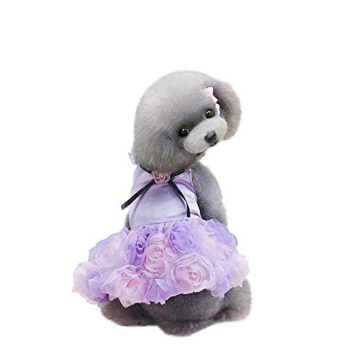 - Dog Dress - Rose Flower Adornment Dog Dress Pet Princess Bowknot Floral Costume Skirt Wedding - Click Garnish Firedog Coif Full-Dress Dressed Heel Coiffure Hound Attire Tag - 1PCs