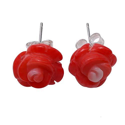 Red Coral Rose Earrings Simple Flower Stud Earrings Handmade Carved Rose Fancy Stud Earrings