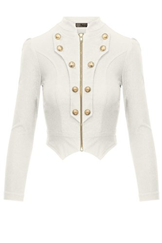 Women's Military Crop Stretch Gold Zip up Blazer Jacket KJK1125X Ivory 3X ()
