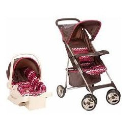 Cosco Car Seat and Stroller Compact Travel System, Chevron Raspberry - Cosco Car Seat Base