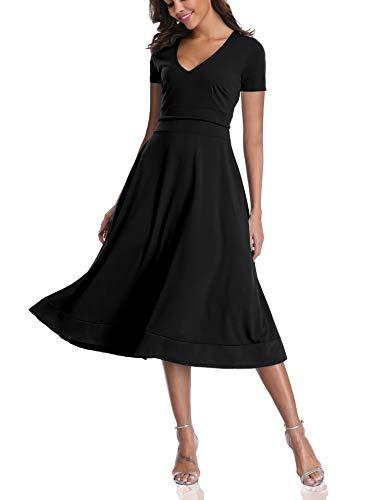 (CHUNNA Womens Half Sleeve V-Neck High Waist Midi Dress with Pockets)