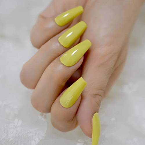 EDA LUXURY BEAUTY YELLOW GLAMOROUS DESIGN Full Cover Press On Gel Glitter Artificial Nail Tips Acrylic Shiny Extreme False Nails Extra Long Ballerina Ballet Coffin Square Super Fashion Fake Nails