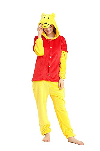 Adults Unisex Onesie Halloween Costumes Animals Sleeping Pajamas (XL, Winnie The Pooh)]()