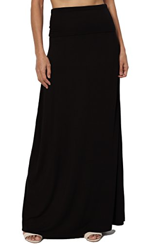 Plus Size Maternity Skirts - TheMogan Women's Casual Solid Draped Jersey Relaxed Long Maxi Skirt Black 3XL