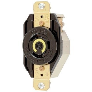 Hubbell Wiring Systems HBL2310 Nylon Face Twist-Lock Receptacle, 20 Ampere, 125V, 2-Pole, 3-Wire Grounding (3 OUTLETS)