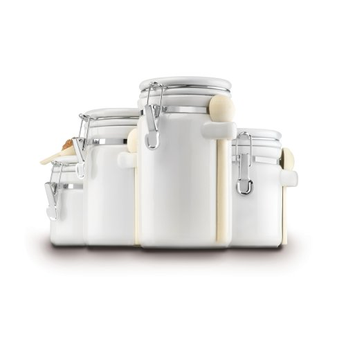 Anchor Hocking 4-Piece Ceramic Canister Set with Clamp Top Lid and Wooden Spoon, White