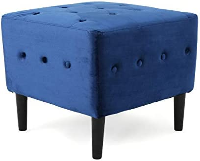Christopher Knight Home Esther Tufted Velvet Ottoman, Navy Blue Matte Black