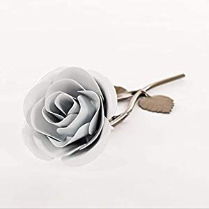 Personalized Gift Hand-Forged Wrought Iron White Metal Rose - Valentine's Day Gift 79
