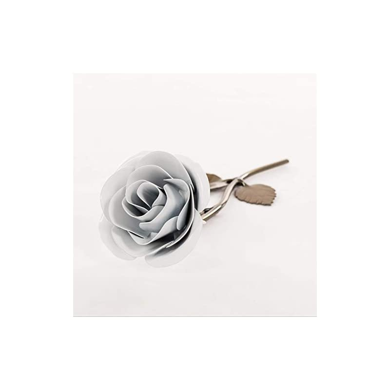 silk flower arrangements personalized gift hand-forged wrought iron white metal rose - valentine's day gift