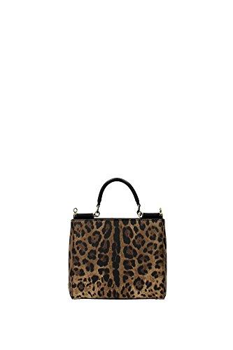 Borse a Mano Dolce&Gabbana Donna Tessuto Leopardato, Nero e Oro BB6098A71588S193 Beige 9.5x17.5x20.5 cm