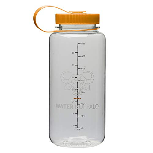Water Buffalo Eco Friendly Water Bottle - Widemouth Tritan BPA Free Water Bottle 32 Ounce - Small Water Bottle with Measurements for Every Day Use, and Non-Toxic Hydration (Clear/Orange) ()